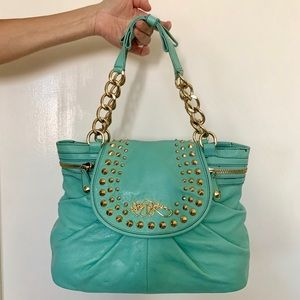 Betsey Johnson Teal Purse with Gold Chains